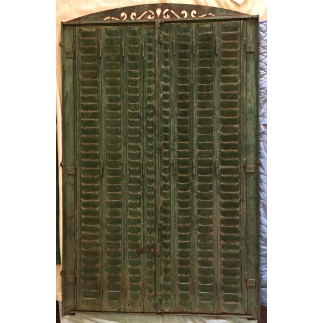 1920s Antique Iron Tall Arched French Window Shutter For Sale - Image 5 of 9