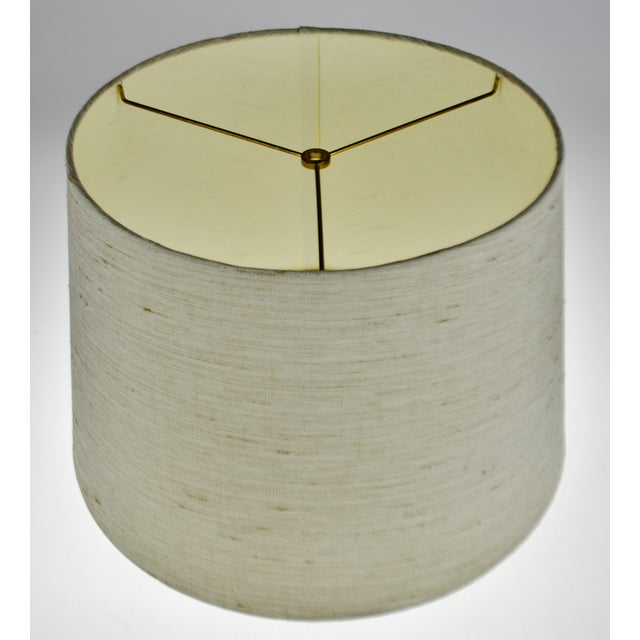 Vintage Linen Fabric Drum Lamp Shade For Sale - Image 4 of 11