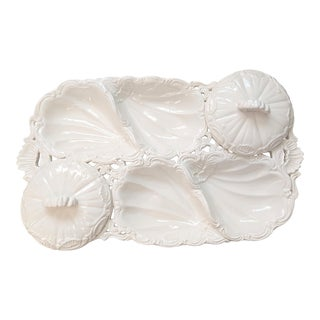 Large 20th Century Italian White Oyster Plate Serving Tray For Sale