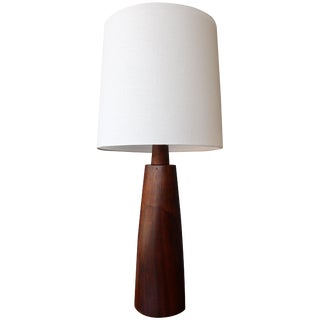 Solid Walnut Table Lamp, Usa, 1960s For Sale