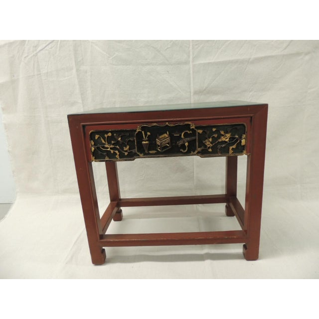 Vintage Chinese Lacquered Side Table - Image 2 of 7