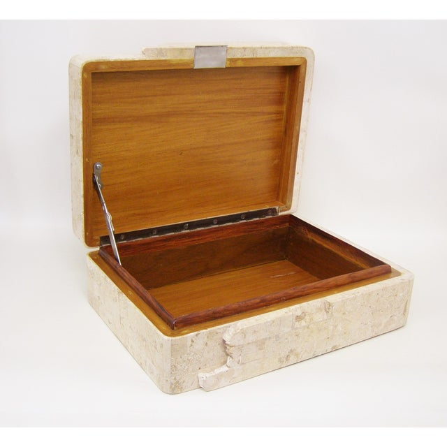 Maitland-Smith Vintage Travertine Marble Box For Sale - Image 7 of 11