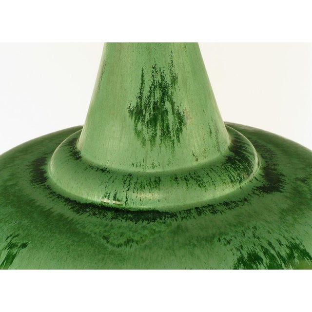 Large Green Pottery Urn Form Table Lamp With Custom Shade - Image 6 of 6