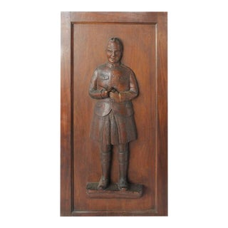 1900s Hand Carved Scotsman Tobacco Store Panel For Sale