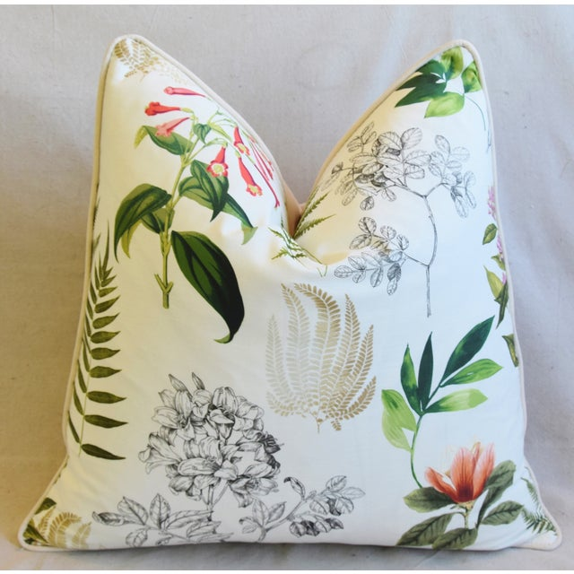 "Bone Botanical Floral Fern Linen & Velvet Feather/Down Pillow 24"" Square For Sale - Image 7 of 8"
