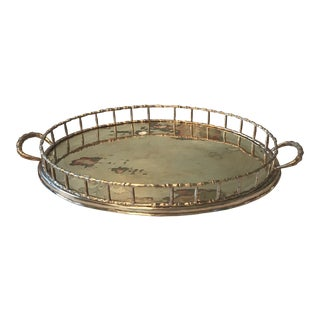 Vintage 1970s Large Brass Bamboo Tray For Sale