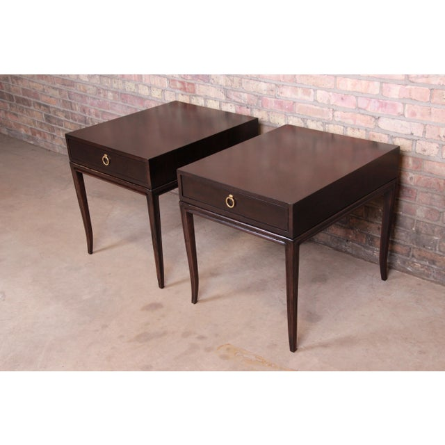 Mid 20th Century Drexel Heritage Hollywood Regency Mahogany Nightstands or End Tables, Newly Refinished For Sale - Image 5 of 13