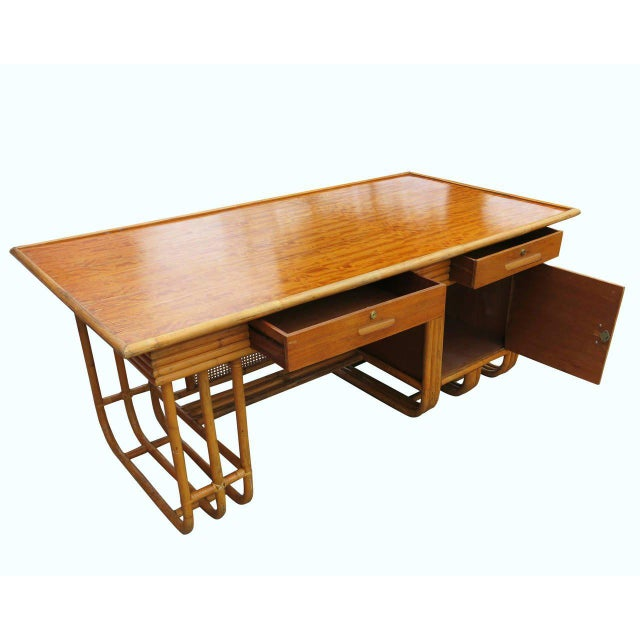 Mid-Century Modern Restored Large Jean Royère Style Streamline Rattan Executive Desk For Sale - Image 3 of 8