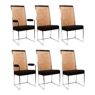 Milo Baughman Chrome & Cane Back Black Velvet Dining Chairs - Set of 6 For Sale
