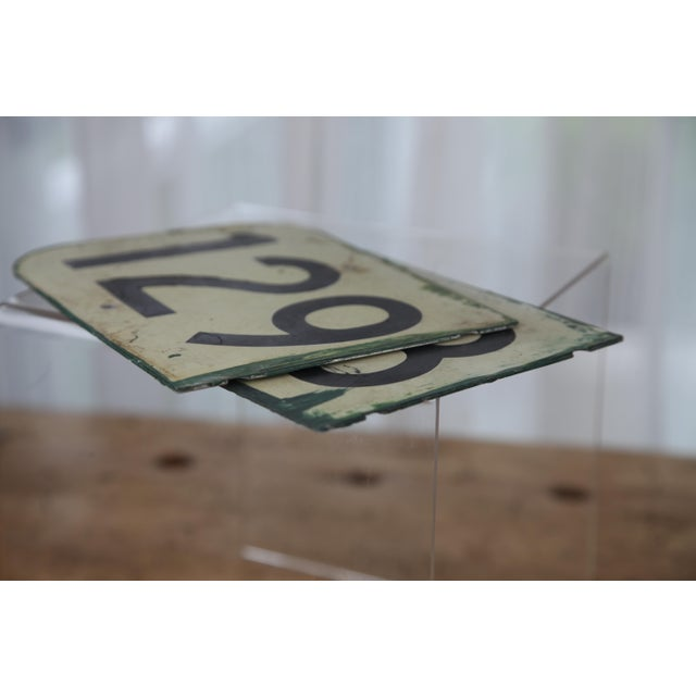 Vintage Metal Signs Numbered 128 & 129 From Airplane Hanger - Set of 2 For Sale - Image 4 of 9