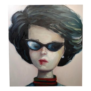 """Claudia Parducci """"Portrait of a Stylish American Girl"""" Oil Painting For Sale"""