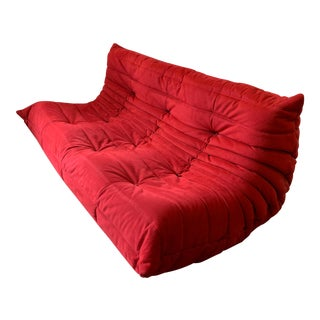 Ligne Roset Alcantara Goya Red Togo Sofa For Sale