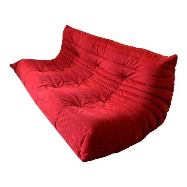 Ligne Roset Alcantara Goya Red Togo Sofa For Sale