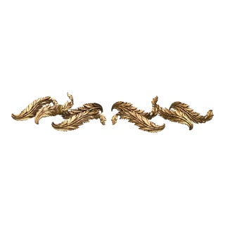 1960's Palladio Rococo Style Gold Gilt Curtain Pull Backs - Set of 4