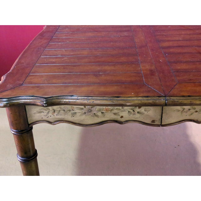 Chippendale 20th Century Chippendale Faux Bamboo Dining Room Table For Sale - Image 3 of 9