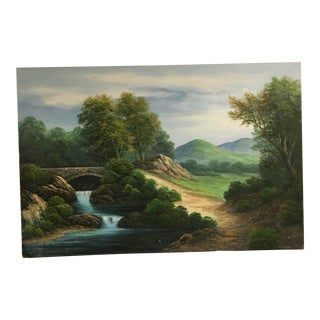 1900s Traditional Landscape Oil on Canvas Painting by J. King