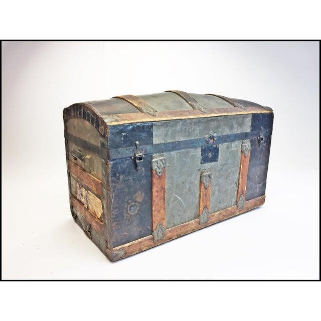 Vintage Rustic Wood Camelback Steamer Trunk For Sale - Image 13 of 13