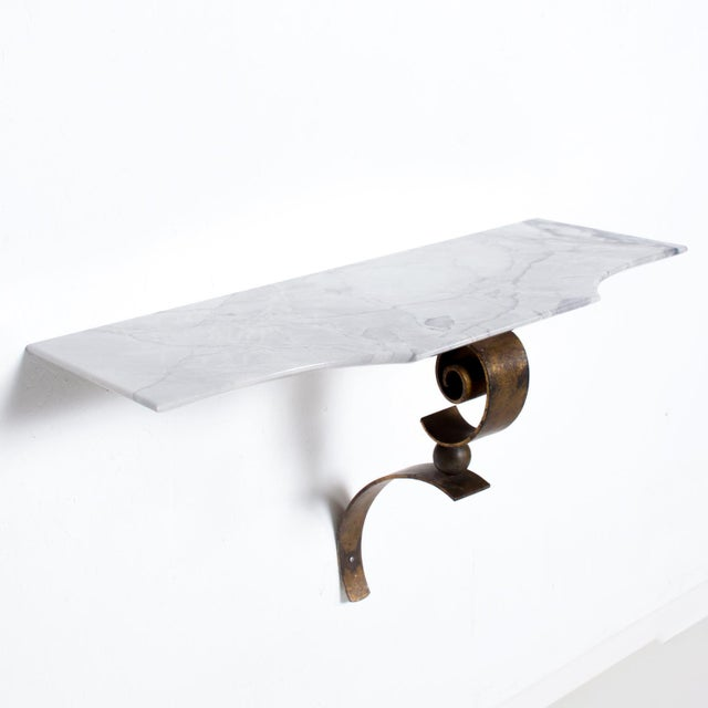 1950s Neoclassical Mexican Modernist Iron-Marble Wall Console Attr. Arturo Pani For Sale - Image 5 of 10