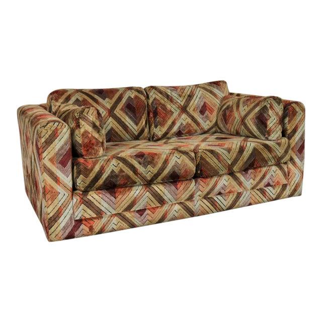 Tuxedo Mod Loveseat Sofa in Jack Lenor Larsen Style Fabric For Sale