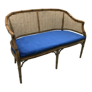 Vintage Cane and Velvet Loveseat For Sale