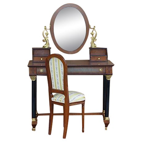 Empire Style Vanity Desk with Mirror & Chair - Image 1 of 11