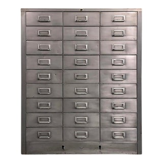 1950s Mid Century Industrial Brushed Steel Document Cabinet For Sale