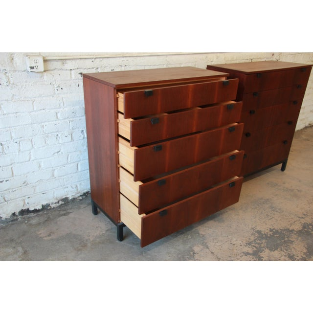 Rosewood Milo Baughman for Directional Rosewood Highboy Dressers - A Pair For Sale - Image 7 of 11