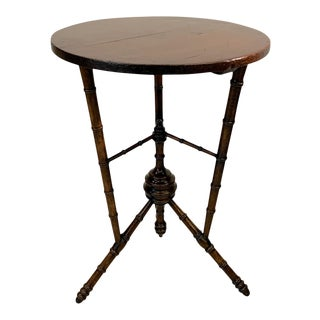 Antique English Mahogany Faux Bamboo Tripod Side Table For Sale