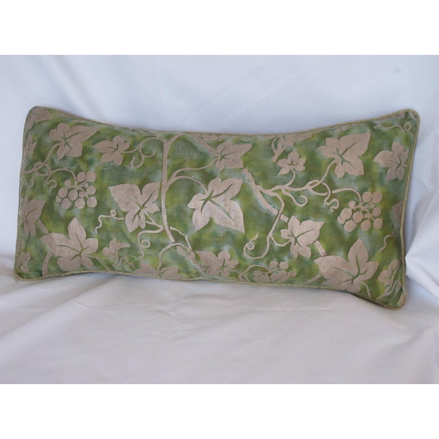 Boho Chic Green Fortuny Fabric Pillow For Sale - Image 3 of 3