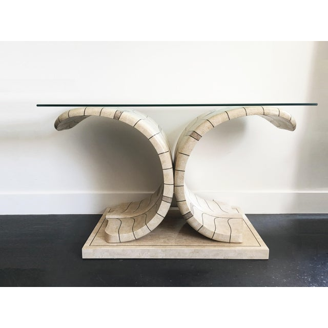 Sculptural Maitland Smith Tessellated Marble Console For Sale In Dallas - Image 6 of 10