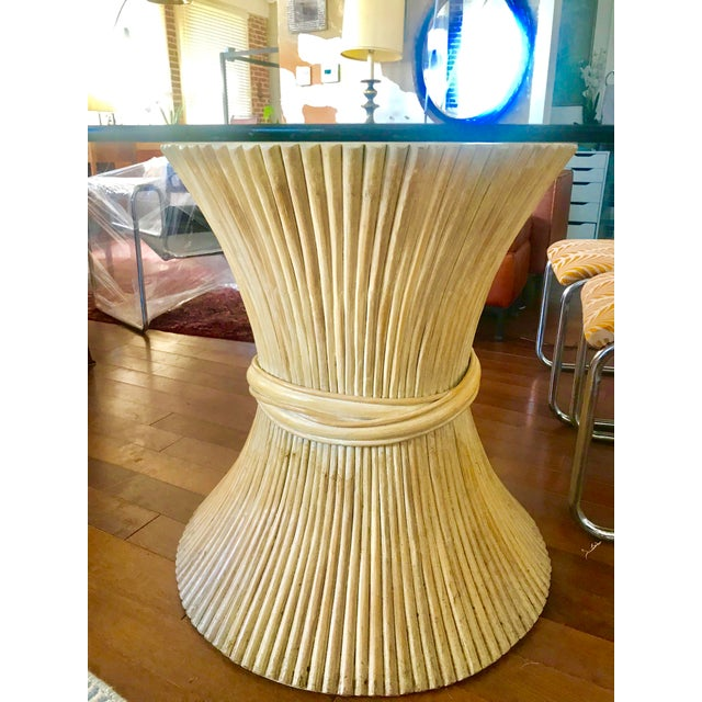 McGuire 1980s Hollywood Regency Sheaf of Wheat Bamboo Pedestal Dining Table For Sale - Image 4 of 7