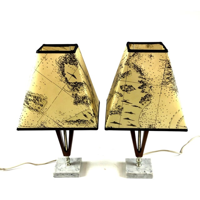 1960s Vintage Teak Marble Brass Italian Lamps - a Pair For Sale - Image 12 of 12