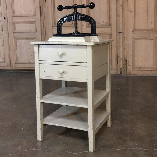 19th Century Cast Iron Paper Press on Painted Stand For Sale - Image 11 of 11