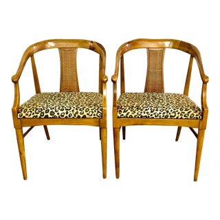 Curved Back Arm Chairs With Caning, Animal Print Seat Cushions- a Pair For Sale