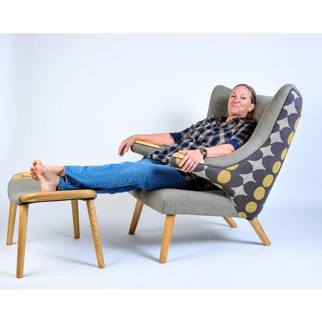 Mid-Century Modern Wegner Arm Chair & Ottoman For Sale - Image 10 of 10