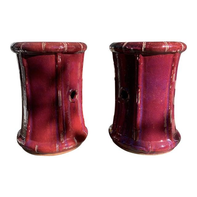 Ceramic Ox Blood Sang-De-Boeuf Bamboo Design Garden Stools- a Pair For Sale