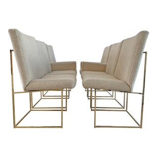 Milo Baughman Brass Dining Chairs, Set of 6 For Sale