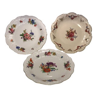 Vintage Bavarian Hand Painted Dinner Plates - Set of 3 For Sale