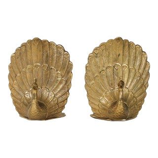 Pair of Brass Peacock Bookends