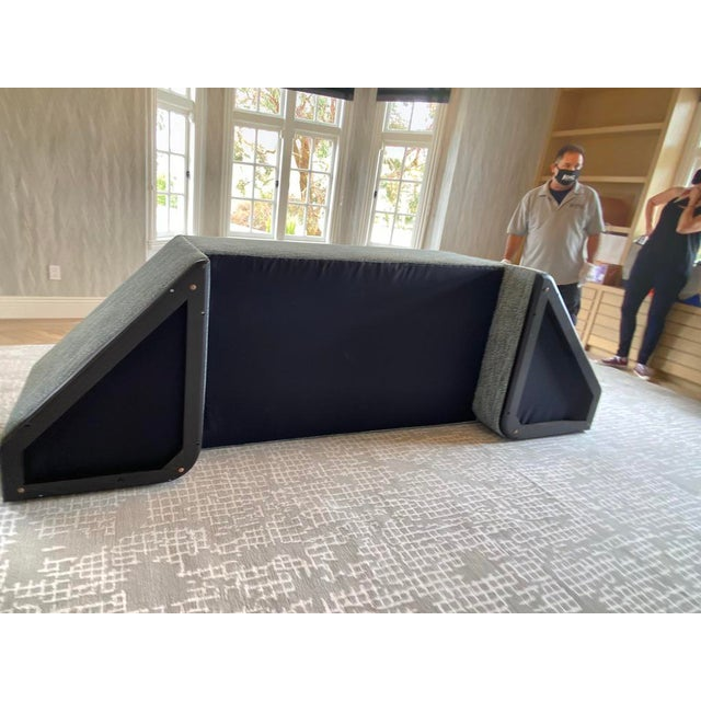 Featured in The 2020 San Francisco Decorator Showcase — Custom Shaped Teal Settee For Sale - Image 10 of 12