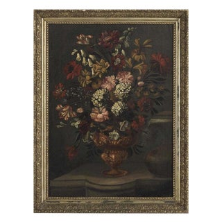 19th Century Antique Framed Oil on Canvas Floral Still Life Painting For Sale