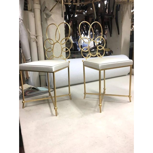 1950s Rene Prou Rare Superb Witty Four-Flower Gold Leaf Wrought Iron Chairs in Silk For Sale - Image 5 of 6