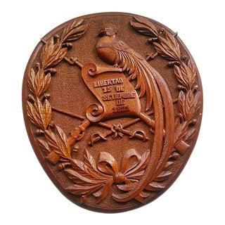 Vintage Carved Wood Crest Plaque For Sale