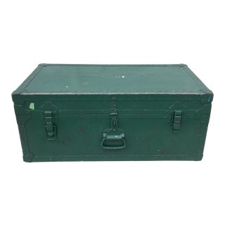 Vintage Metal Green Trunk