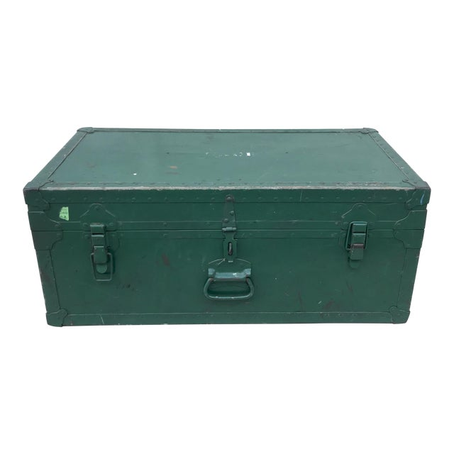 Vintage Metal Green Trunk - Image 1 of 6