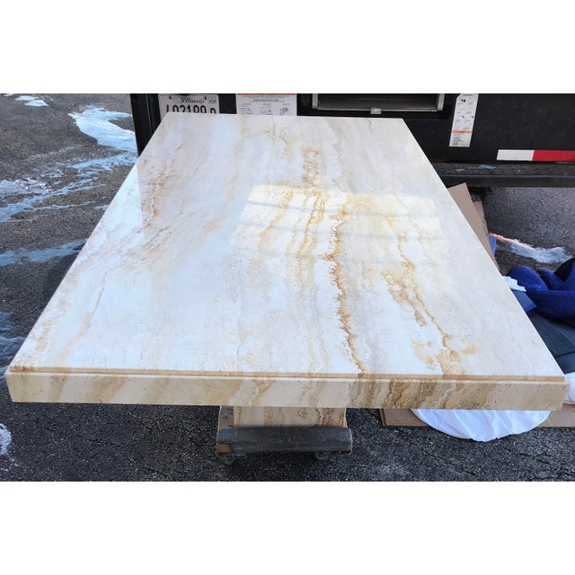 1970s Italian Long Travertine Dining Table For Sale In Chicago - Image 6 of 13