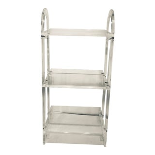 Mid Century Modern Lucite Portable Three Tier Shelf Stand For Sale