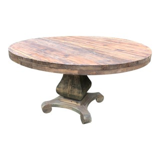 Modern Rustic and Round Dining Table For Sale