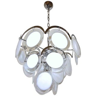 1960s Mid-Century Modern Murano Vistosi Clear and White Disk Chandelier