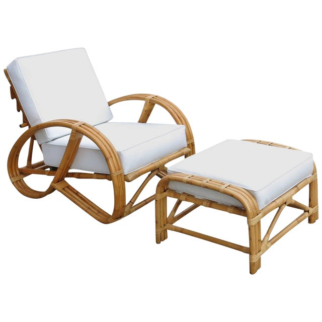 Restored Rattan Reclining Lounge Chair With 3/4 Pretzel Arms and Ottoman For Sale